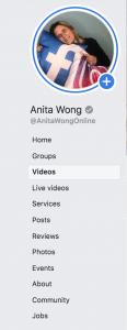 Facebook dashboard tabs